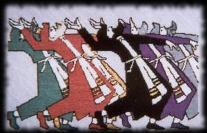 Dancing Rabbis (Needlepoint by Anita